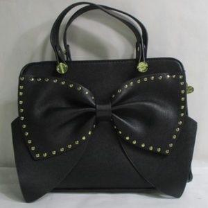 Betsey Johnson Studded Black Bow Handbag